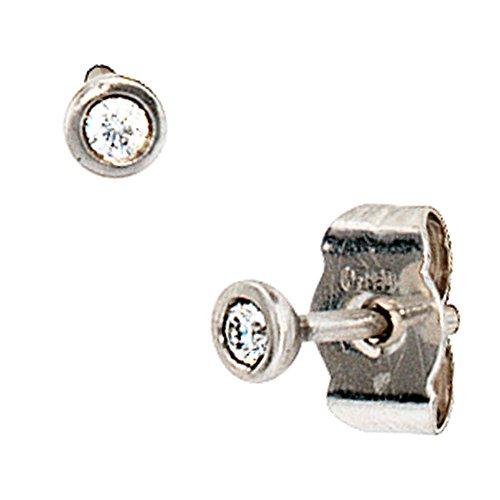 JOBO Damen-Ohrstecker Rund aus 950 Platin mit 2 Diamanten