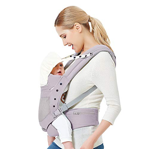 Baby Carrier with Adjustable Hip Seat,Baby Wrap Carrier with Hood, Soft & Breathable Backpack Front and Back for Infants to Toddlers Up to 44 lbs - Gray