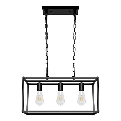 Black Farmhouse Kitchen Island Lighting Modern Chandelier Industrial Ceiling Light Fixtures for Dining Room Living Room Foyer Bar Restaurant (5-Light)