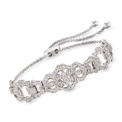 Ross-Simons 0.25 ct. t.w. Diamond Openwork Bolo Bracelet in Sterling Silver