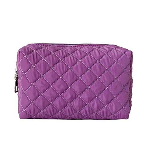 Xuyichangzhishi Neceser de viaje para mujer de maquillaje y cosmética impermeable de viaje de nylon portátil bolsa de almacenamiento bolsa de almacenamiento bolso de mano púrpura
