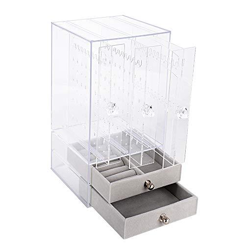 Caja Pendientes Caja Almacenamiento Joyería Transparente de Acrilico Caja Organizador Joyas Soporte Titular de Joyería Organizador Sostenedor de Pendientes Collares Pulseras Anillos 5 Cajones Beige