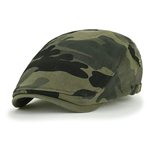 ililily Camouflage Cotton Fitted Gatsby Newsboy Hat Cabbie Hunting Flat Cap, Olive Green