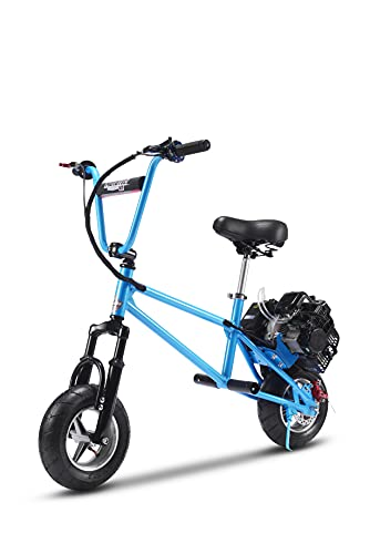 """Gas Motorized Scooter for Adults and Kids - 2 Stroke Gas Mini Bike, Front Suspension with Range Up to 10~20 Miles, 11"""" Air-Filled Ties (Blue)"""