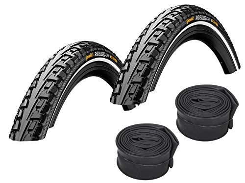Continental Set: 2 x Fahrrad Reifen Ride Tour Reflex 37-622 (28 Zoll) + Conti SCHLÄUCHE Rennradventil