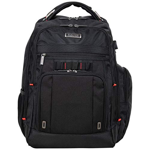 Kenneth Cole Reaction Dual Compartment Anti-Theft RFID with USB Port 15.6' Laptop Backpack, Black, One Size