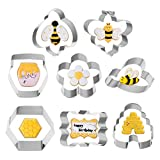 Bee Cookie Cutter Set of 8, Cookie Cutters Molds Stainless Steel Bee ,Beehive, Honey Jar, Flower and Frame for Bee Party Birthday Baby Bridal Shower(3inch)