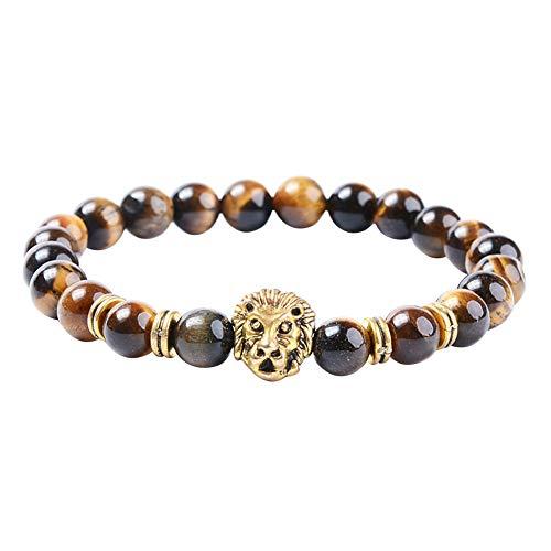 Demarkt Pulsera de piedra volcánica y perlas turquesa león marrón