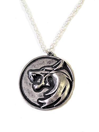 Witcher The Geralt Netflix Accessories - Collar con colgante de medallón, diseño de cabeza de lobo oscuro, color negro