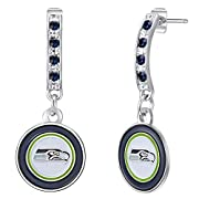 Glitzy Bar Post Earrings Decorated with Your Favorite NFL Team Colored Logo Embellished with Shimmering Crystals Secure Fit Clasp Ensures Care-Free Wear Beautiful Bejeweled Earrings to Showcase your Team Spirit!
