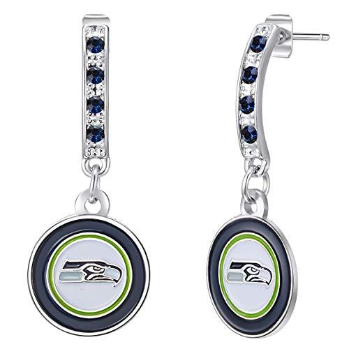 Pro Specialties Group womens NFL Seattle Seahawks Bar Post Earrings , Small
