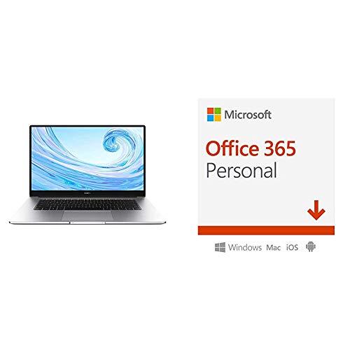 HUAWEI MateBook D 15.6'' Laptop, FullView 1080P FHD Ultrabook PC, AMD Ryzen 5 3500U, 8GB RAM, 256GB SSD, Windows 10 Home, Microsoft Office 365 Personal, 1 Anno PC/Mac, Codice d'Attivazione via Email