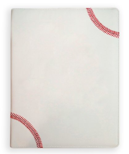 Zumer Sport Baseball Leather Notepad Portfolio - Made with Actual Baseball Materials - Large pad Agenda Planner Book - Ruled Note Paper - Pen Holder - Business Card Holder - White, Red Stitching