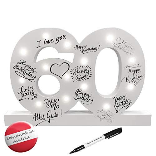 CREOFANT ® XL Gästebuch 60 Geburtstag Deko mit LED Beleuchtung 37 cm x 24 cm · Tischdeko Geschenkidee 60. Geburtstagsgeschenk batteriebetrieben inkl. Stift schwarz