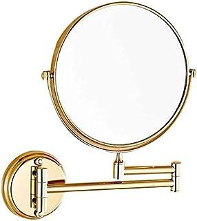 Asdfnfa Cosmetic Mirror Wallmounted Beauty Mirror Bathroom Vanity MirrorTelescopic Flip Fold 3X Magnifier Makeup Mirror (Color : Gold)