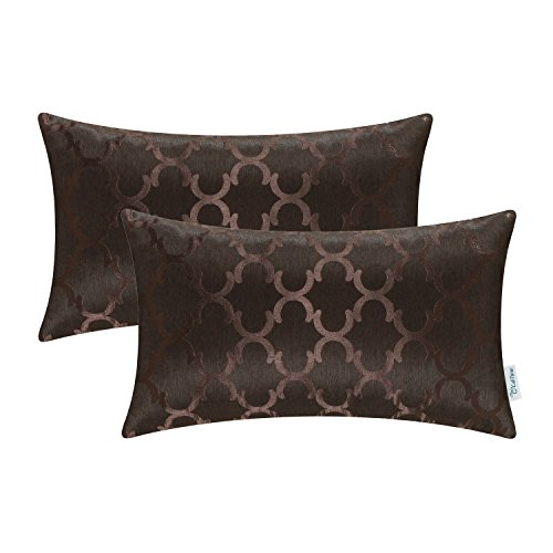CaliTime Cushion Covers Pack of 2 Bolster Pillow Cases Shells for Home Sofa Couch Modern Shining & Dull Contrast Quatrefoil Accent Geometric 30cm x 50cm Coffee