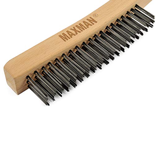 Product Image 4: Wire Brush Set,Heavy Duty Carbon Steel and Stainless Steel Wire Scratch Brush for Cleaning Rust with 14″ Long Curved Beechwood Handle,2 Pieces,Large