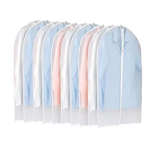 20er Kleiderhüllen Kleidersäcke transparent 120cm lang Staubschutz für Mantel Anzug Jacke Rock Kleider Aufbewahrung Sack mit Reißverschluss, dick, wasserdicht Kunststoff (20 Stücke mit 120 cm Länge)