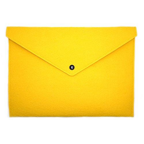 ERCENTURY Felt File Folder, Durable Briefcase, Document Bag, Paper File Folders, Portfolio Case, Letter Envelope, Handbag Button Closure, for Office Home School Stationery (Yellow)