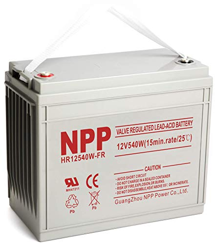 NPP 12V 160ah AGM Deep Cycle Rechargeable Battery for Pv Solar Panels Smart Chargers Wind Turbine and Inverters, 12V 3240Watts, 540watts/Cell(15min.Rate) High Rate UPS Battery