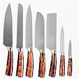 Set de acero inoxidable 8 PCS Juego de cuchillos 33 cm CUCHILLO DE CUCHILLO MARRONAL MANGE DE PLÁSTICO COMPLETO CHOADA TORG HERRAMIENTAS CORTERADOR (Color : B 7pcs set)