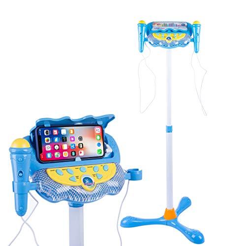 HYMAN Mikrofon Kinder, Kinder Karaokemaschinen Karaoke-Mikrofon mit Lichteffekt und Verstellbarer Ständer
