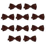 DonDon Set de 10 Pajarita para hombre de 12 x 6 cm ajustable y lista para usar - Marrón