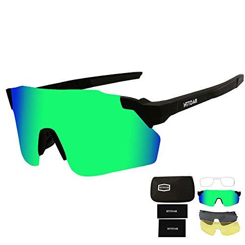 HTTOAR Occhiali da sole sportivi/Occhiali da Ciclismo -Anti-UV con 3 Lenti Occhiali da Ciclismo Intercambiabili per Sport (Verde nero)