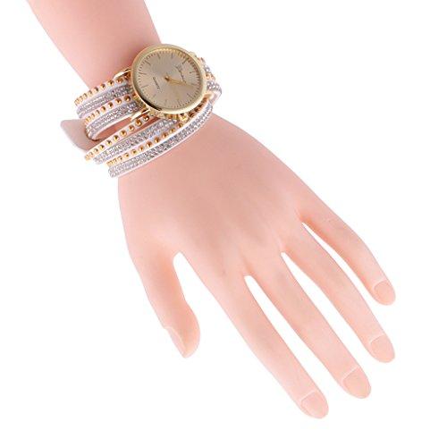 Gazechimp Montre à Quartz Bracelet en Cuir PU/Strass Bijou Décoratif pour Femme Fille - Blanc