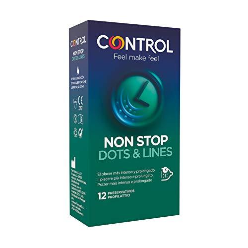 Control Preservativos Non Stop Dots & Lines - Caja de condones, Con puntos y estrías para la estimulación, efecto retardante, perfecta adaptabilidad, sexo seguro, 12 unidades