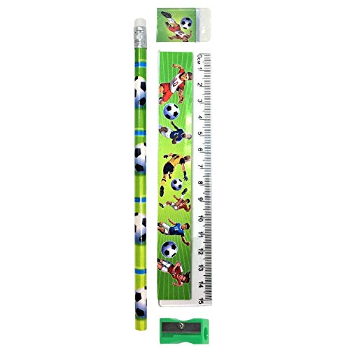 Papeterie de Football (crayon, règle, gomme, taille-crayon) - Football Stationery Set