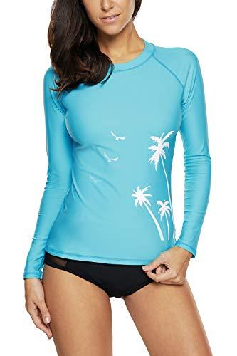 CharmLeaks Women Rash Guard Shirts Long Sleeve Athletic Bathing Suit Tops UPF 50+ Aqua S