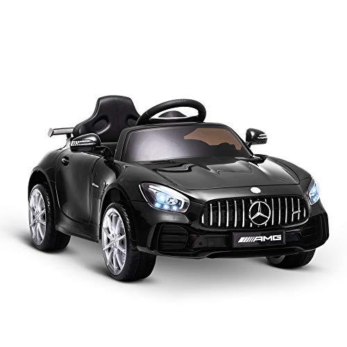 homcom Macchinina per Bambini Elettrica 12V con Licenza Mercedes-AMG GTR, velocità 3-5km/h, Telecomando, Luci e Suoni, Nera