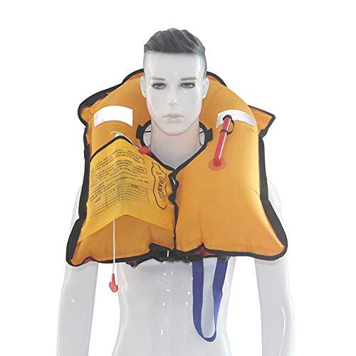 Chaqueta Salvavidas Inflable, Automático/Manual Inflable de la natación Chaleco de Vida con el silbido, por Barco Pesca Vela Kayak Surf Palmetazos Natación (sin Cilindro de Gas),Amarillo,Manual