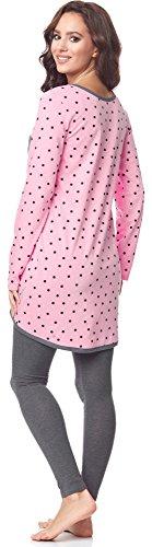 Be Mammy Pijama Premamá Camiseta y Leggins Embarazo Lactancia BE20-178(Rosa-Puntos-Gris, L)