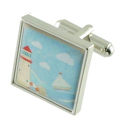 Select Gifts Manschettenknöpfe Light House Postkarte graviert Personalisierte Box
