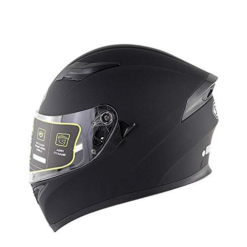 WGFGXQ Motorrad Integralhelm DOT-Zertifizierung Straßenrennen Motorradhelm Cromwell Helm Jet Doppelspiegel Modular Flip Helm (M, L, XL, XXL), Schwarz, L.