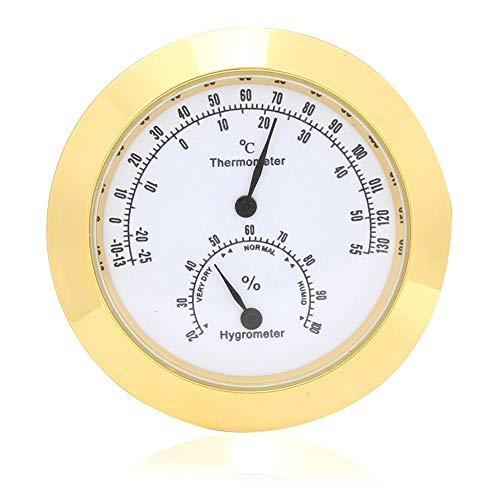 Runde Thermometer Hygrometer Indoor/Outdoor 2pcs Gitarre Violine Thermometer Hygrometer Feuchtigkeit Digitale Luftfeuchtigkeit Temperatur Meter Monitor für Gitarre Violine Fall Teile(Golden)