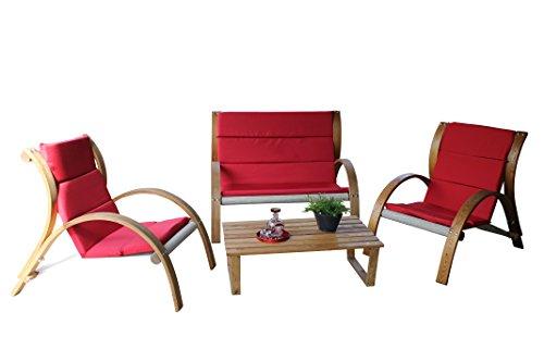 Leco Gartenmöbel, Holzgruppe Rustik, rot, 98 x 126 x 114 cm, 29400104