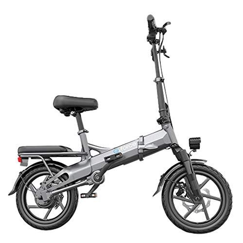 AKT Chainless E-Bike Foldable Mini Electric Bicycle City Commuting Tools Shaft Drive Technology EBS Disc Brake, Power 400W / Mileage: 150-250KM,Gray