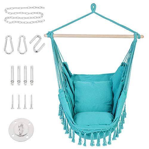 Patio Watcher Hammock Chair Hanging Rope Swing Seat with 2 Cushions and...