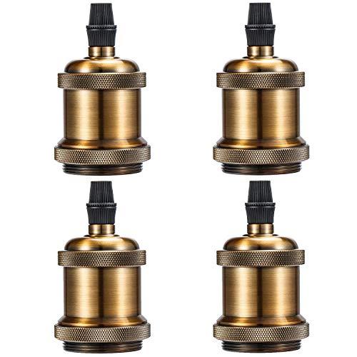 Licperron 4 X Edison Lampenfassung E27 Sockel Vintage Lampensockel für Hängeleuchte und Deckenleuchte Fassung Messing Sockel
