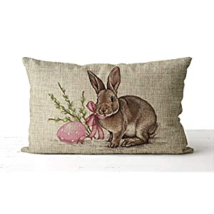 DKISEE Watercolor Easter Bunny Pillow Cover, Lumbar Pillow Cover, Easter Egg, Easter Decor, Spring Pillow Cover, Spring Decor, Easter Pillow Cover, Cotton Linen Cover