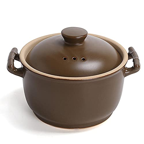 CeráMica Hot Pot Casserole Open Fire Stef Pot No. Clay Casserole Stef Pot Hogar Antiguo Pot Sopa De Moda Sin Ganas-5L