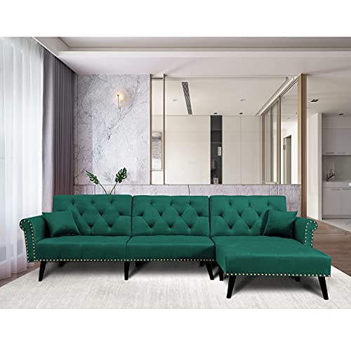 """HOMMOO 115"""" Modern Reversible Sectional Sofa Velvet Couch Sleeper Sofa Bed with Chaise Lounge L-Shaped Corner Couch for Living Room Green(2 Pillows Included)"""