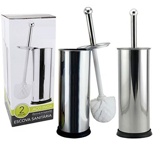 Kit 2 Escovas Sanitária Vassoura Vaso Aço Inox Suporte Banheiro