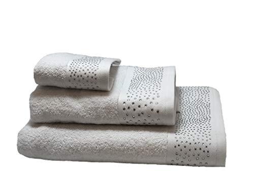 NORA HOME Juego de Toallas con Pedrería Mod. Rain. 100% algodón. 3 Piezas (Blanco)