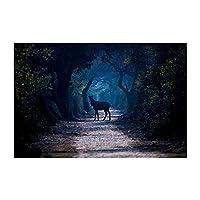 現代の動物ポスターとプリントの壁の芸術キャンバス絵画鹿とクマの森の中の森の写真 (Color : B, Size (Inch) : 60X90cm No Frame)
