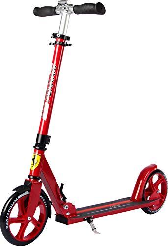 Ferrari Adultos Scooter Ruedas Grandes Scooter Plegable Adulto City-Roller Kick Scooter Rojo Negro para Adultos y niños