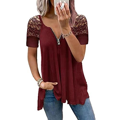 Mayntop Camiseta para mujer para verano, manga corta, sin mangas, con cuello en V, cremallera, talla grande